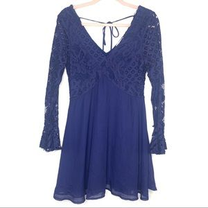 ALTAR'D STATE | Navy Blue Lace Bell Sleeve Dress